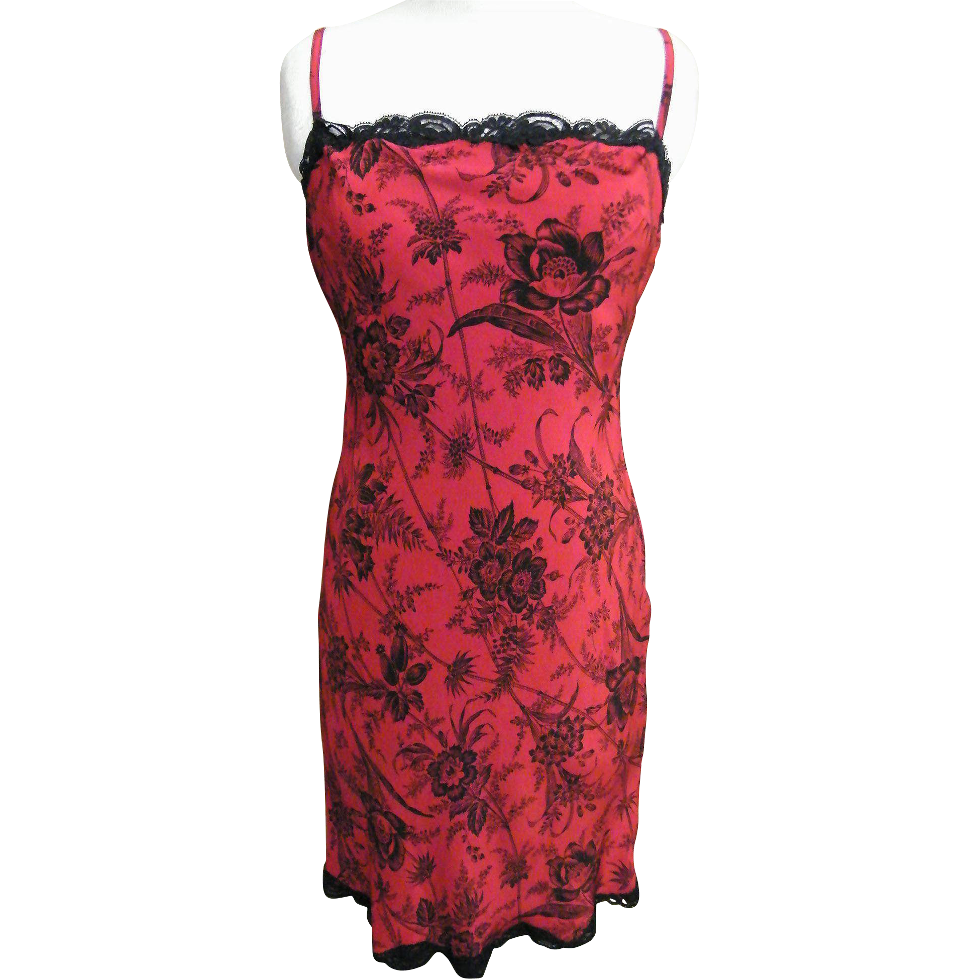 Red Rayon Slip Or Dress With Black Floral Spray Print..Black Lace Trim..Excellent Condition