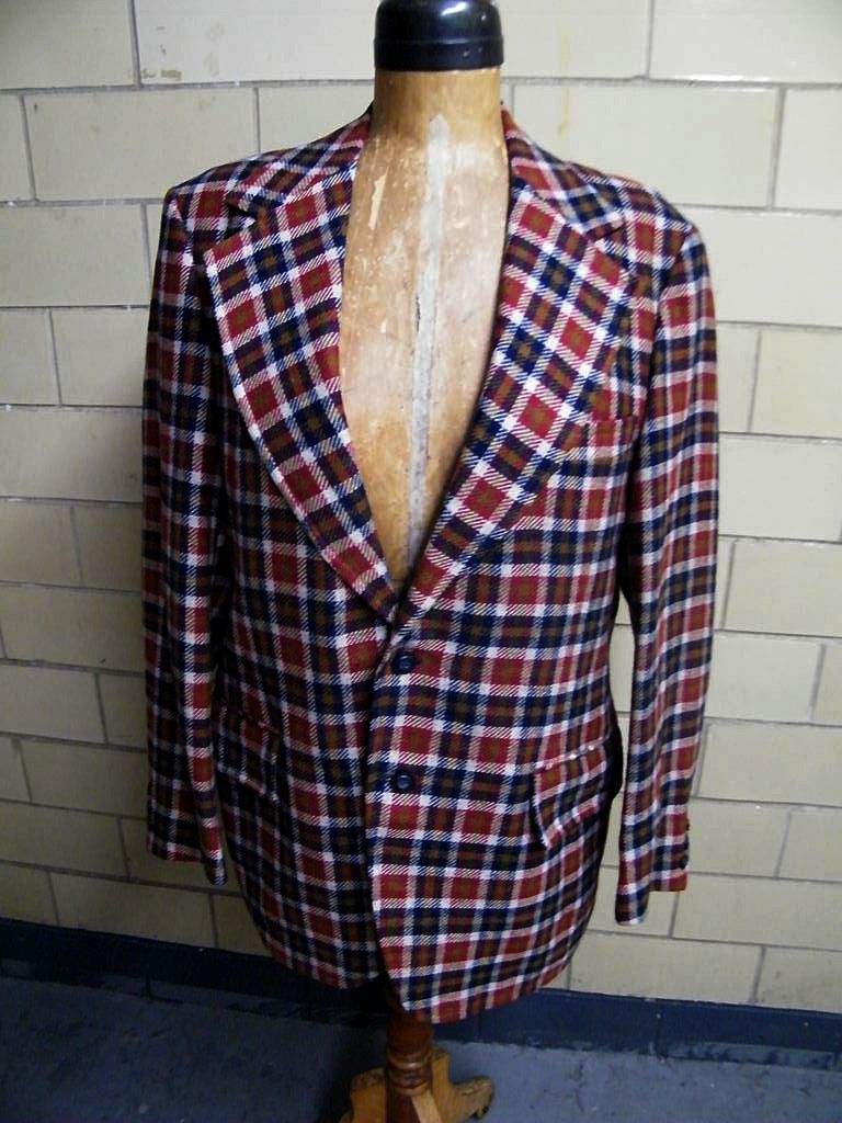 Vintage 1960'-70's Men's Sports Jacket Coat..Rust / Navy / Beige Tattersall Check..Wool..Anders Fine Clothing