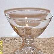 Clear Glass Compote In The Burwick/Bubble/Boopie  Pattern By Anchor Hocking ...4 Sets Of 4 Pieces Available