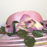 Pink Polypropylene Straw Hat With Shaded Pink And Wine Roses On With Alternating Rows Of Sheer Fabric On the Brim