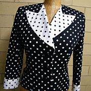 Designer Suit..Black/White Dots..Pique Cord..Seena's Boutique..1980's..Excellent Condition..Size 6