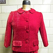1960's..Suit-Dress Of Dark Red Seersucker Rayon Velvet-Designer Quality-Partially Hand Sewn