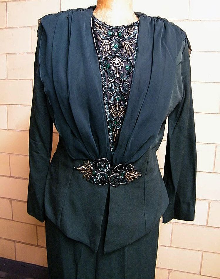 Maxi Suit With Jeweled Accents In Bottle Green By Dave & Johnny..1980's..Rayon / Acetate..USA..Size 16
