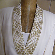 ALBERT NIPPON Evening 3 Piece..Beaded Trim.. CREAM Crepe Suit..Shawl Collar..Size 12
