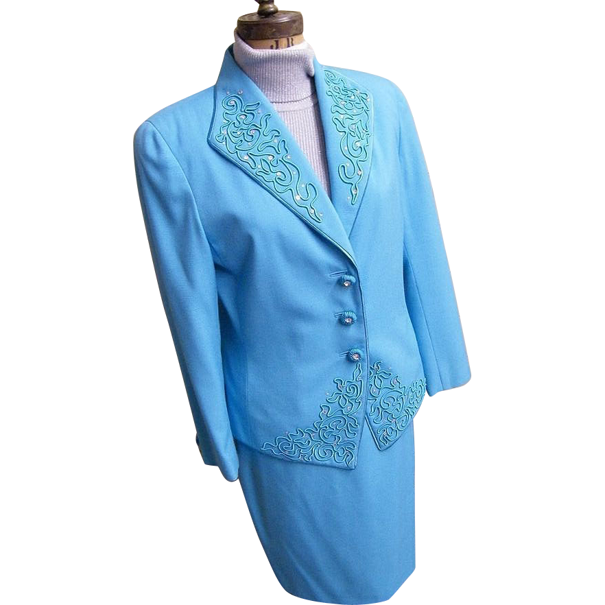 Formal 3 Piece Dress Suit..Aqua..Passementry & Rhinestone Trim..Nolan Miller..Satin Shell..Size 10..Hong Kong
