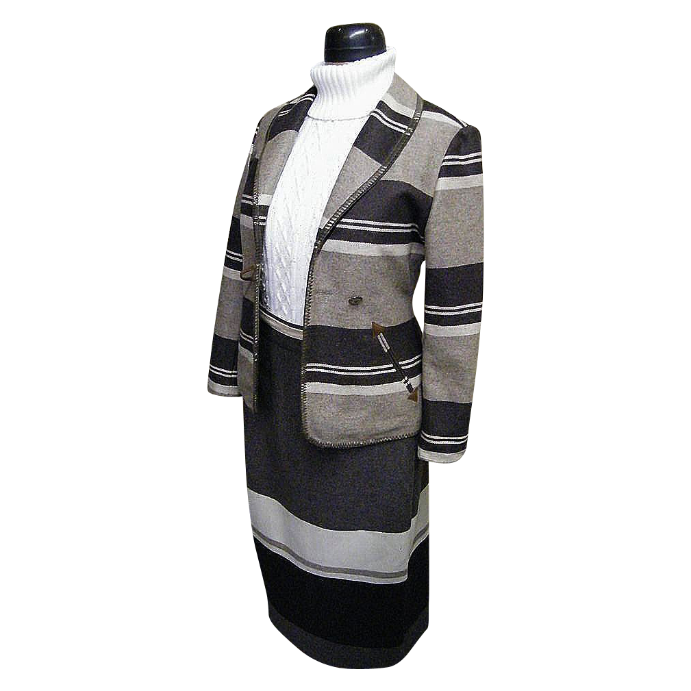 Wool Blanket Striped Shawl Collar & Wrap Skirt In Neutral Tones By BLUE FAMILY of Benetton..Made In Italy..1960's-70's..Italian Size 38..Excellent Condition