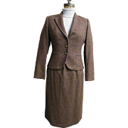 Wool Checked Chesterfield Suit..Fitted Jacket..Stright Skirt With Lightly Gathered Waist..Calf Length...Lined..By SASSON..Size 6/7