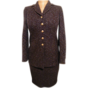 Suit..St John Knit..Boucle..Brown With Blue Accent Yarn..Jacket 2 / Skirt 4..Excellent Condition