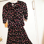 Striking Garden Party Suit..Black Ground With Small Pink, Red, Beige Roses..Rayon Crepe & Voile..NEW With Tags..Size 8