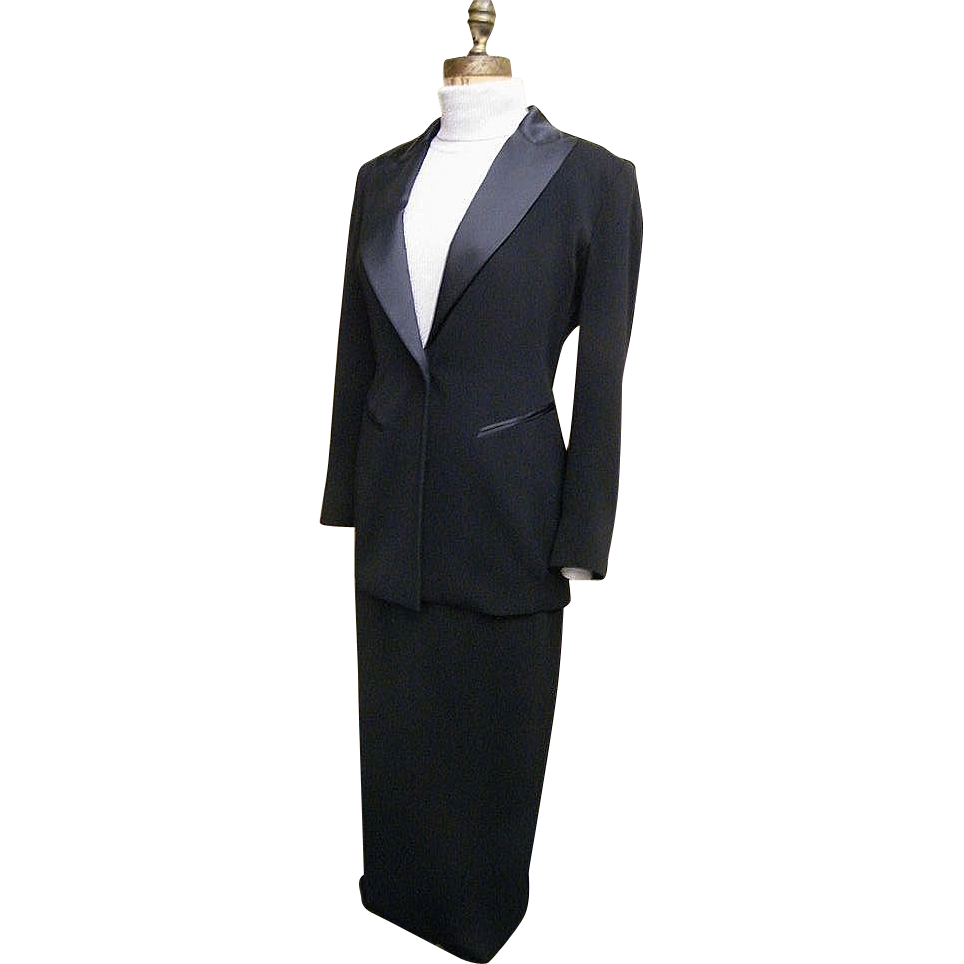 EMANUEL By Emanuel Ungaro..Black 2-Piece Tuxedo Suit..Maxi Skirt..Hong Kong..Petite