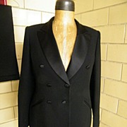 Women's Tuxedo Suit..KASPER..ASL 6 Petite..Black Crepe Poly & Acetate..Excellent Condition!