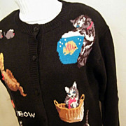 MEOW Cardigan Sweater..Quacker Factory..Ramie/Cotton..Size L/XL..New Condition
