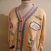 Pale Yellow Women Theme Sweater Showing Clothing & Accessories..Cotton / Ramie..1980's..Large / Extra Large..Storybook Hand Knits..Limited Edition..1980's..Never Worn..L/XL