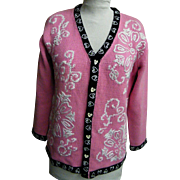 Pink Valentine Sweater By Storybook Handknits..Cotton & Ramie..Size Small..Excellent Condition!