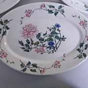 "Syracuse China Large Oval Dinner Platter Or Serving Dish..Peony Design...11.5""X8""..Set Of 4"
