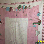 "Kitchen Collectables  Motifs  Pink Printed Linen Tablecloth  [46"" X 65""]"