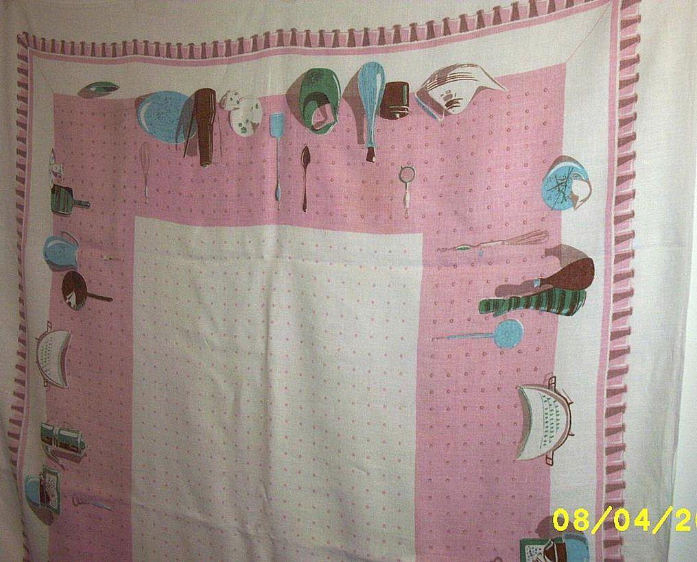 kitchen collectables motifs pink printed linen tablecloth kitchencollectiblesspace43starcentermallvintageantiqueslin