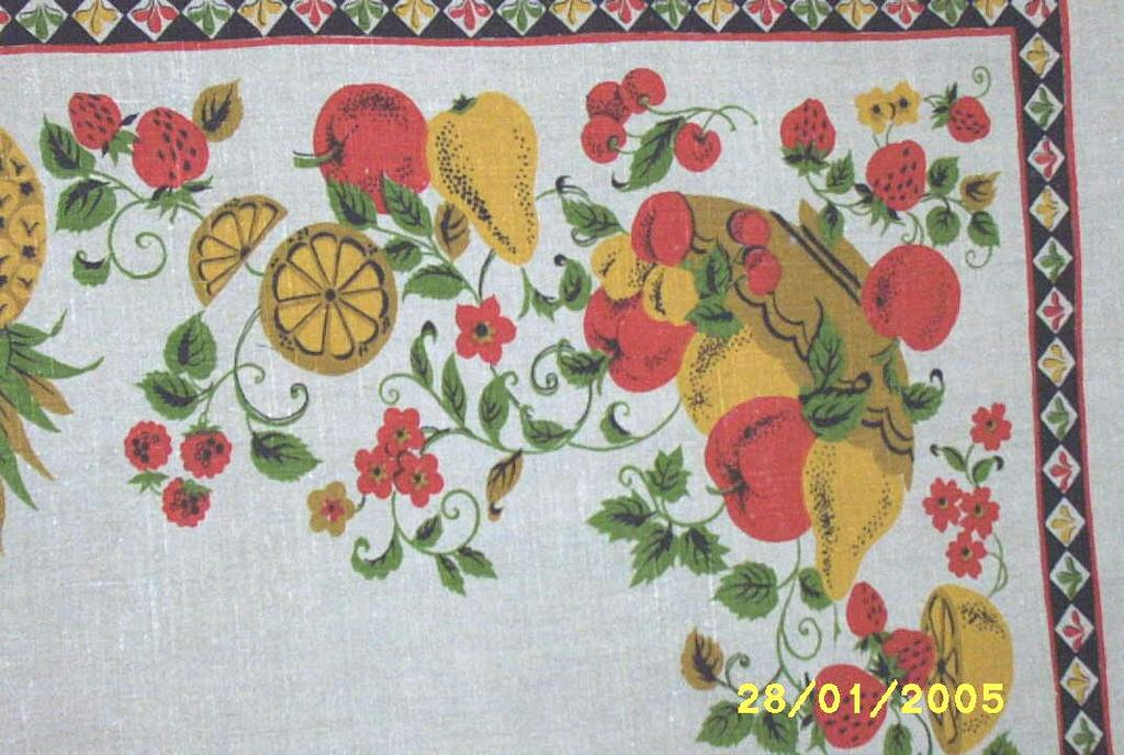 Printed Heavy Vintage Natural Linen All Fruit Border Tablecloth
