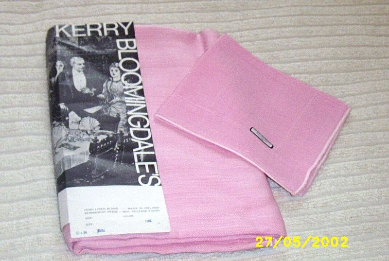 Perky Pink Irish Linen And Rayon Blend Tablecloth/Napkins [10]  From Bloomingdales