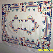 Vintage Printed Mexican Motif Cotton Pique Tablecloth
