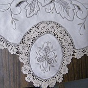 "Tablecloth 72"" X 108""...12 Napkins..Hand Embroidered & Crochet Inserts..China 1950's..Never Used..Excellent Condition"