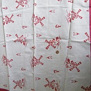 Vintage 1940's Teacloth / Tablecloth With Large Red Flocked Windmills..Natural Linen / Cotton & Red Banding..Excellent Condition