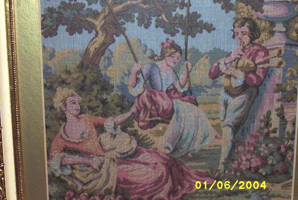 Two Elegant Framed  Vintage Tapestry's Threesome And Couple Sold As Pair