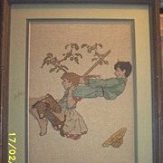 Vintage..Tapestry..Children On Swing..1920's--1930's