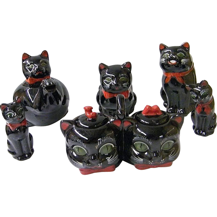 Shafford Black Cat Tea & Condiment Set Collection..1950's..Excellent Condition