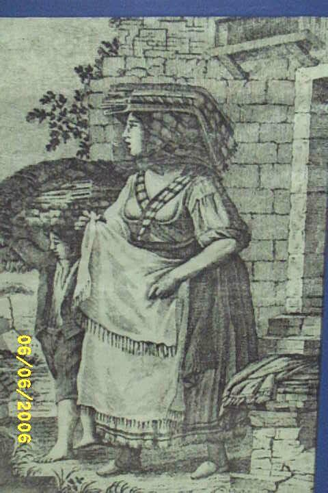 Antique..Toile de Jouy Copper Gray Engraved Print..Peasant Woman & Son..Cotton Sateen..Framed