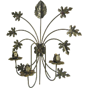"Tole Wall Candelabra..Weathered Brass Metal Color...19"" Tall"
