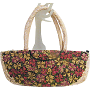 Long Narrow Needlework Floral Ethnic Tote Bag Purse..Made In Guatemala..Excellent Condirion!