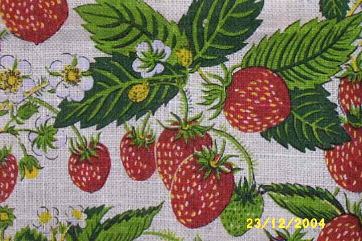 Screen-Printed Vintage Strawberry Tea Towel Or Kitchen Towel By Kay Dee Signed By Artist Marge French