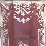 Vintage Damask Jacquard Colonial Couple Guest Towels Cotton/Rayon Wine/White  Pair/Set