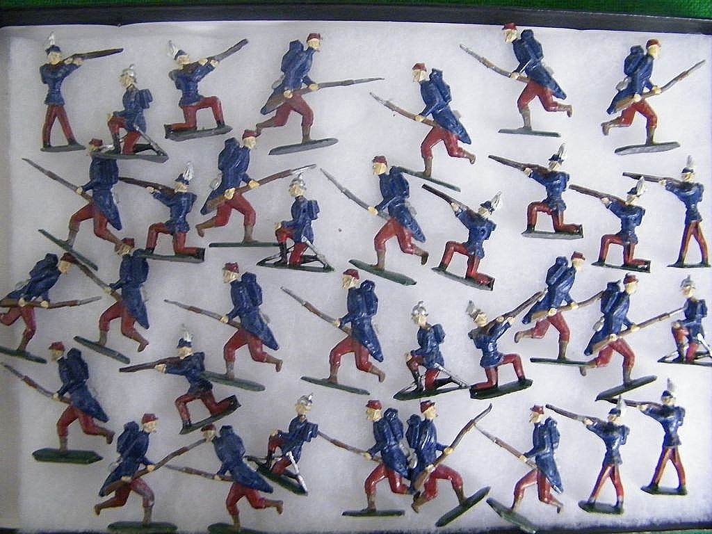 Early 1900's Large Lead Flat Medal Toy Soldier Set Of 36..Double-Sided..Enamel..Germany