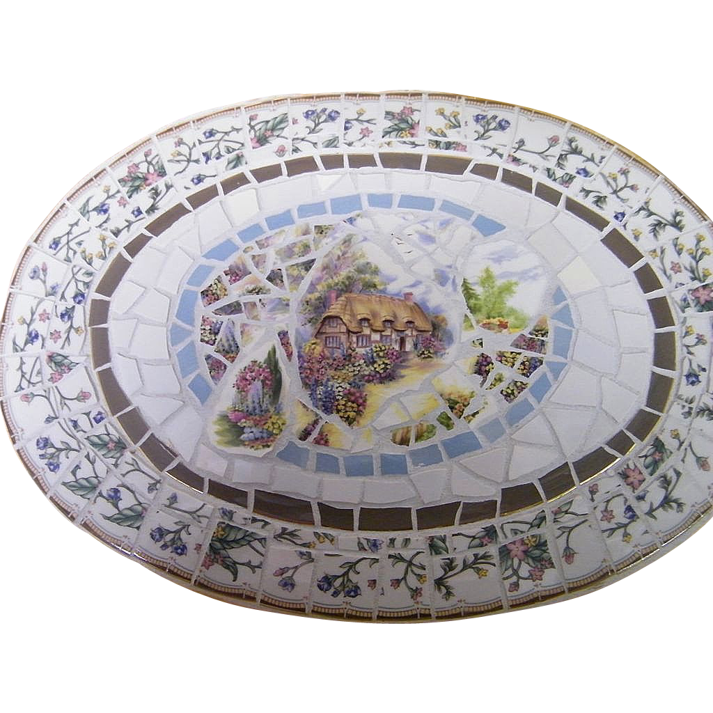 Mosaic Tray..Mix Of Scenic China & GlassTile..Signed..18X13
