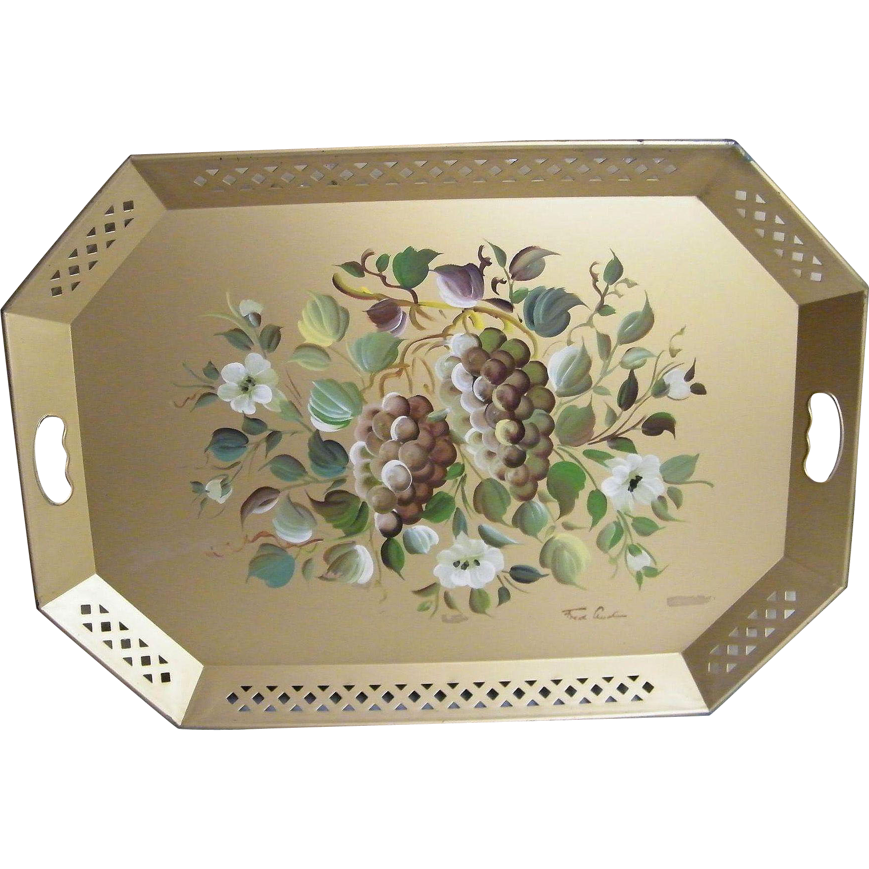 "Extra Large Tole Tray ...NASHCO.. Gold Ground With Large Hand-Painted Grape Design..Signed Fred A..28"" x 20"""