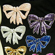 Vintage Applique Trims..Large Bows..in Sequins & Beaded Outline..Ass't Colors..NOS..Hong Kong..11 Pieces Available