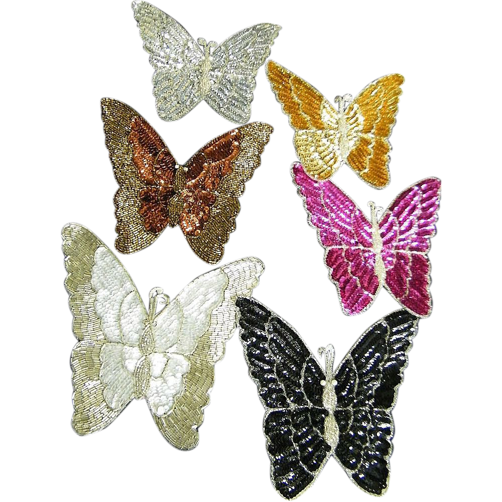 "BUTTERFLY..Vintage Designer Quality Extra Large Beaded Applique..8"" X 7""..New Condition..9 pieces Available"