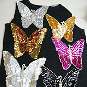 Vintage Extra Large Butterfly Sequin & Glass Beaded Applique Trims..NOS..Assorted Colors...10 Pieces Available