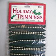 "Holiday Trimmings..Metal Beaded Garland Chain on Card..NIB..72"" - 3mm"