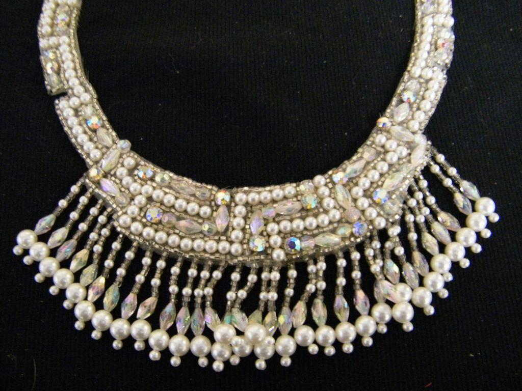 Applique Trim..Neckline..Faux Pearl..Clear Glass Beads & AB Rhinestone & Beads..Quality..NOS..Hong Kong