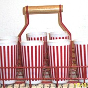 Tall Hazel Atlas Red & White Striped Milkglass Tumblers Set Of Seven