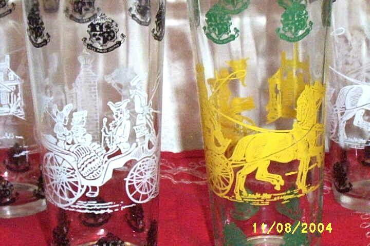 Horse And Coachman Tumblers Drinking Glasses ...Set Of 4