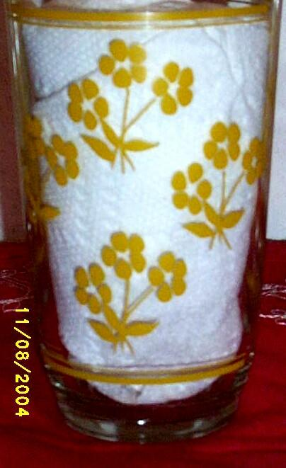 Tumblers Small Scattered Yellow Flowers Cream Cheese Glasses...Set of 3