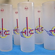 Vintage Advertising RCA Victor TUMBLERS Set of 6..Ice Tea..Frosted..Hard-To-Find!