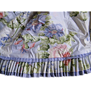 Long Laura Ashley Style Cotton Sateen Valance..Custom Made..Blues, Pink Flowers & Green Foliage