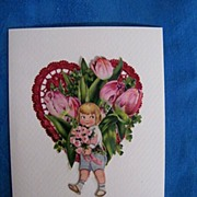 Valentine Collage Greeting Card..Boy In Blue..Red Foil Heart..Pink Tulips..Vintage Scraps..Mint