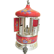 1930's Reuge Musical Lip Stick Holder / Cigarette Holder Carrousel..Rose Enamel With Hand Painted Floral Sprays & Silver Trim