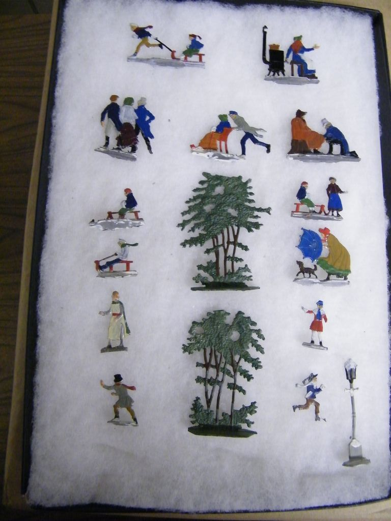 German Victorian Style Cast Metal Ice-Skating Figurines...Double-Sided......Set 16 Pieces